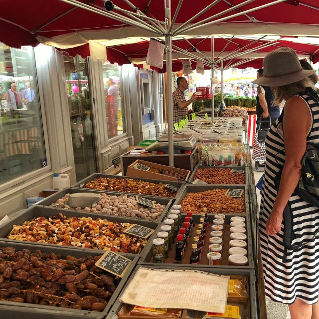 Chagny market, irresistible displays of food, much home prepared